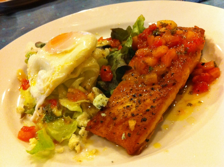 Pan-fried Salmon with Salsa, Salad and Poached Egg